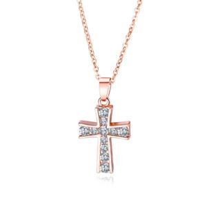 European and American Pop Rose Gold Jesus Cross Crystal Pendant Religious Vintage Ladies Necklace 3-KX451