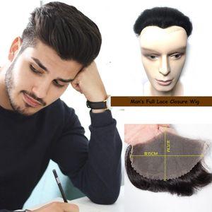 İnsan Saç erkek Başkanı Yedek Blok Kapatma Peruk Tam Dantel Peruk 15 CM x 7 CM Yüksek Kalite İnsan Saç erkek Peruk Peruk Düz Peruk