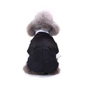 Pet Dog Gentleman Clothes Cat Dog Shirts Striped Suits Puppy Tuxedo Bow Tie Coat