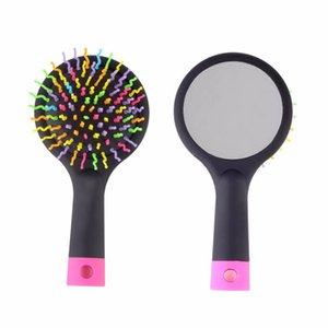 2018 Rainbow Volume antistatische Magie Detangler Hair Curl Gerade Massage Kamm Pinsel Styling Werkzeuge Mit Kosmetikspiegel