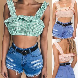 2018 Yeni Moda Sweet Kadınlar Bayanlar Yaz Tanklar Dantelli Kolsuz Ekose Katı Kısa Süre 2 Stil Tops