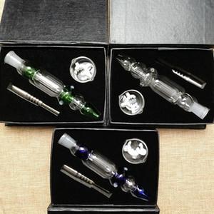 Petit Nectaor Kits Collector 10 mm 14mm Joint Mini Nector Collectionneurs Vert Bleu clair Couleurs huile Tamponnez avec Rigs Dabber vaisselle clou de titane