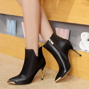 Fashion Women Female Real Boot Winter Real Leather Platform Ladies High Heels Casual Shoes Booties Free Shipping