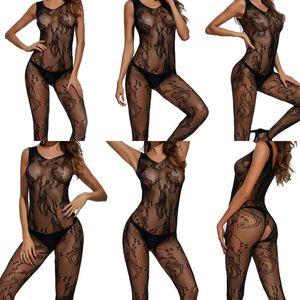 Brand New женщин Эластичный Sexy рукавов белье кружево выдалбливают сетки Crotchless всего тела чулок Bodysuit