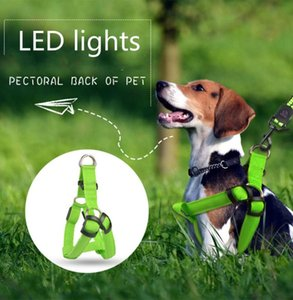 Pet Harness Vest LED Lights Nylon Dog Harness Collar Safety Adjustable Dog Traction Belt LED Collar Vest Pet Accessories