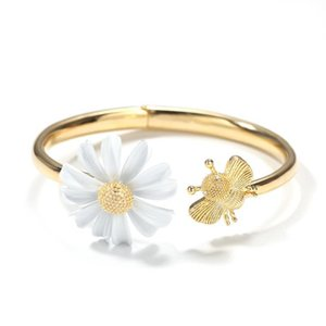 European and American ins style small daisy bee opening design bracelet ring paint flower popular women's bracelet jewelry