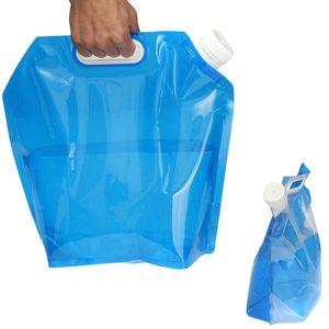 Bolsa de agua HBP 5L PE para la bolsa de elevación de almacenamiento de agua plegable portátil para acampar Senderismo Supervivencia Hidratación Almacenamiento de la vejiga 30 * 32.5cm