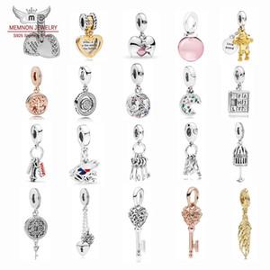 My Heart Kilit Aile Kalp Sonbahar parlaklık Taneleri takılar 925 Gümüş Openwork Anahtar çekicilik boncuk uygun bilezik DIY takı pandantifler