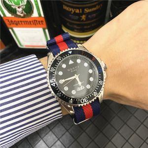 Heiße Art und Weise neue Luxus-Freizeit der Männer Uhr Modedesigner hochwertiges Nylon Uhrenarmband Kalender Marke Quarzuhr