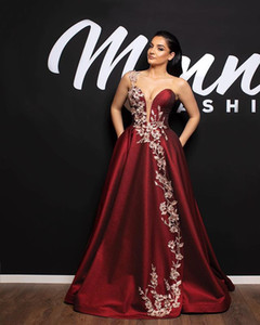 2019 Bugundy One Shoulder Celebrity Dresses Appliques Elastic Satin A Line Floor Length Formal Evening Occasion Prom Dresses Custom Made