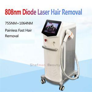 2019 diodo máquina de depilación láser 755nm 1064nm 808nm diodo láser depilación permanente salón de rejuvenecimiento de la piel con láser máquina de la belleza
