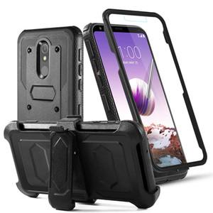 LG Stylo 5 Defender la caja híbrida de cuerpo completo de doble capa para trabajo pesado Impacto caja del teléfono de la pistolera del clip giratorio para cinturón pata de cabra para LG Stylo 5