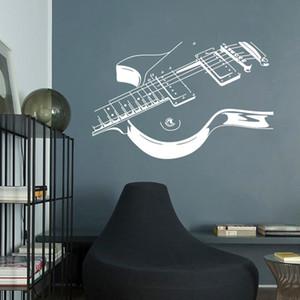 대형 음악 기타 벽 스티커 음악 룸 침실 장식 벽화 예술 데칼 배경 화면 키즈 객실 홈 벽 장식