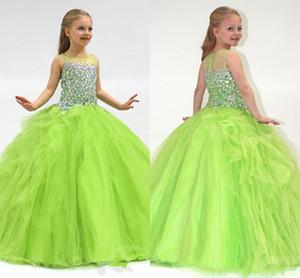 2020 사용자 지정 만든 올리브 그린 공 가운 바토르 깎아 지른 크리스탈 여자의 미식가 드레스 미풍 라인 꽃 파는 드레스 공식적인 파티 드레스