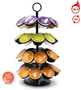 K-Cup Carousel - Holds 36 K-Cups in Black, 360 Rotating Coffee Accessories Stainless Steel Frame + stoving Varnish Process