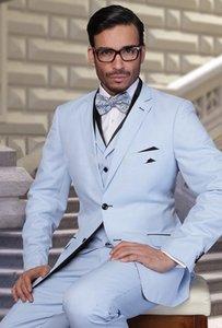 Tuxedos Blue Groom Notch revers garçons d'honneur hommes robe de mariée pour hommes veston Blazer Business Suit (veste + pantalon + gilet + cravate) 1683