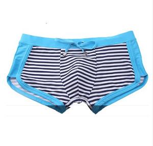 Short de bain rayé pour homme Desmiit Maillot de bain homme Maillot de bain Gay Maillot de bain Taille basse Boxer Shorts Sexy Pénis Pouch Sunga Man