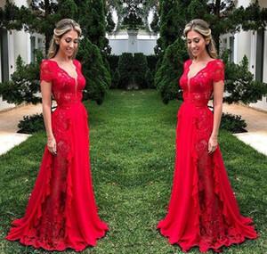 Magnifique rouge longue robes de soirée en dentelle profonde du cou mancherons de bal Robes en mousseline de soie balayage train fête officielle Robe