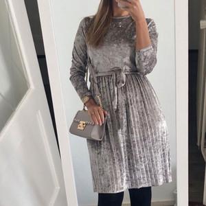 Vente en gros-SusiRita Vintage robe à manches longues en velours Femmes 2019 Robe moulante Belted Midi printemps Parti plissés Robes Robes Robe Femme