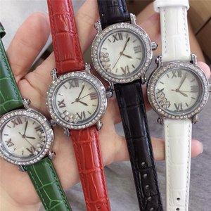Großhandelsqualitäts-Luxus-Frauen-Uhr Glückliche Diamant Sport Designer Damenuhren Quarzwerk Lederarmband weiblichen Geschenk Uhr