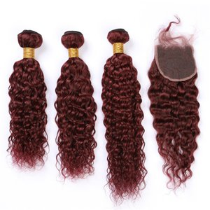 """Burgundy Hair Bundles Wet and Wavy with Closure #99J Wine Red Malaysian Water Wave Weaves Human Hair 3Bundles with Lace Closure 4x4"""""""