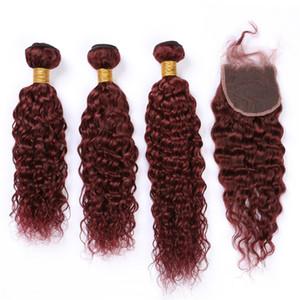 """Burgundy волос Пучки Влажный и волнистый с Closure # 99J бордовой малазийской волна воды переплетений человек 3Bundles волос с Lace Closure 4x4"""""""