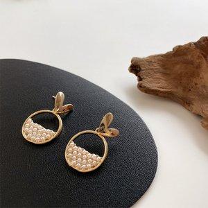 Kadınlar Sweet Altın Renk Metal Heart Drop Dangle Küpe Takı 2020 Minimalist Hollow Çıkan Simüle-İnci kolye Küpe
