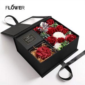 Jabón creativo Rose regalo del día de jabón perfumado de flores caja de regalo del Día de la boda del cumpleaños de la madre Jabón Rose simulación con la caja de regalo de San Valentín