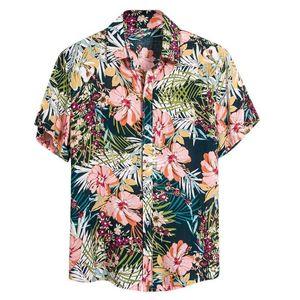 Повседневная рубашка с коротким рукавом гавайская печати Мужская рубашка Багги Пляж Кнопка Ретро Turn Down Воротник Мужской Блуза Tops Камиза masculina