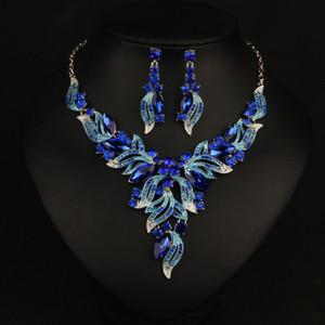 Gioielli colorati per matrimoni Water Drop Collana a catena di cristallo della clavicola Set gioielli da sposa Perle Bracciali di lusso Orecchini LP326