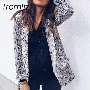 Tromlfz 2019 printemps et en automne Mode sexy Femmes Personnalité Casual serpent Motif Leopard manches longues veste femme