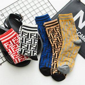 Fendi Unisex para hombre calcetines de las mujeres de los hombres transpirable larga carta del calcetín de algodón elástico se divierte chaussettes Elite calcetín calcetines Medias