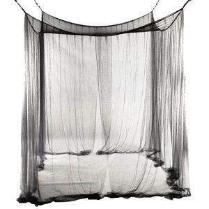 4 코너 침대 그물 캐노피 모기장 퀸 / 킹 사이즈 침대 190 * 210 * 240cm (블랙)