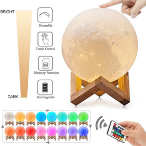 3D Printing Moon Lamp USB LED Light Moonlight Touch Color Changing 8-18CM Speaker Accessories