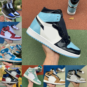 2019 Nike Air Jordan 1 retro jordans  Scotts Scarpe da basket Turbo Green Origin Story Gs bandito NRG Rebel XX Union Retros 1s Unc White Blue Shoes