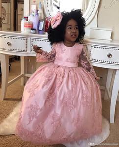 Слои розовый бальное платье Формальная девушки Pageant платья принцессы Цветы Hand Made Бабочка Длинные платья девушки цветка Пром платья для детей