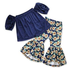 Toddler Girls Summer Clothing Velvet Dark Blue Tops Sunflower Print Flared Pants Trousers 2pcs Fashion Baby Girl Clothes 1-5Y