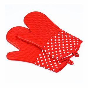 Microwave Oven Glove Heat Insulation Silicone Oven Gloves Slip-resistant Bakeware Kitchen Cooking Baking Tools Washing Gloves GGA3409-6