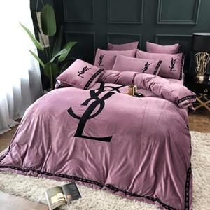 Kristal Yün Sıcak Yatak Kapak Suite 4 Adet Kalınlaşmış Kış Taç Havlu Nakış Kapak Takımı Dantel Katı Prenses Bedding1 1111