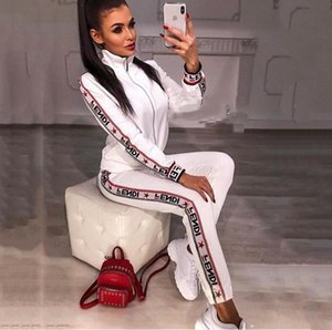 2019 Casual Trainingsanzug Frauen 2 Stück Set Sweatsuit Zipper Striped Trainingsanzug Langarm Sweatshirt + Pants Damen Sets
