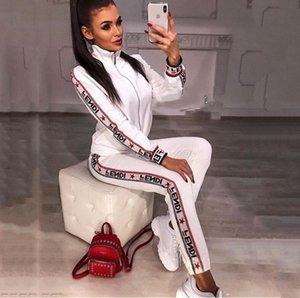2019 Casual Treino Mulheres 2 Peças Set Sweatsuit Zipper Listrado Treino de Manga Comprida Camisola + Calças Conjuntos de Mulheres