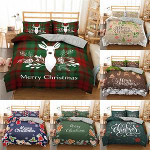 С Рождеством постельных крышки 3d Printed Deer и Санта-Клаус пододеяльник Установить с наволочкой микрофибры постельного белья