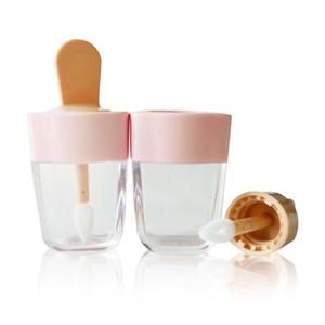 5pcs vacío del tubo brillo de labios Contenedores Crema Tarros DIY compone la herramienta cosmética helado botella transparente de labios recargable