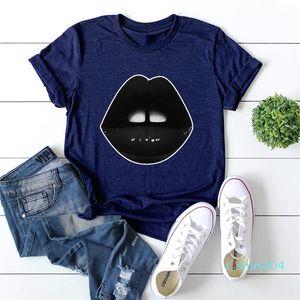 Été femmes Designer T-shirt Fashion Black Lips imprimé à manches courtes Casual Hauts femmes solides T04 T-shirts Couleur