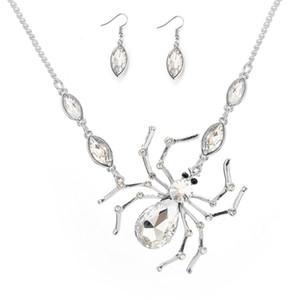 2019 collar de aleación para mujer boda navidad fiesta de halloween exquisita decoración con incrustaciones de diamantes colgante de araña collar pendientes