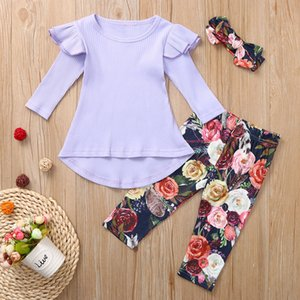 toddler girl clothes Kids Baby Girl Dress T shirt Tops Floral Pants Headband Outfits Set Boutique Kids Clothing Roupas Infantis