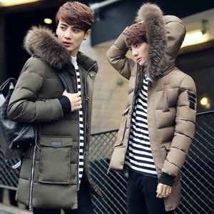 long down cotton padded jacket for men and teenagers Korean version cotton padded jacket for raccoon dog, duck and men