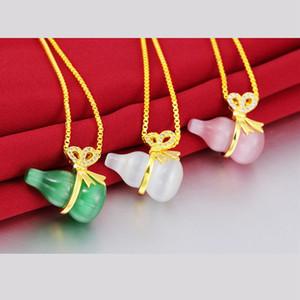 Rouge / Vert / Blanc Opale Gourd brillant Pendentif chaîne or jaune 18 carats demeures de charme pour femmes filles collier pendentif cadeau