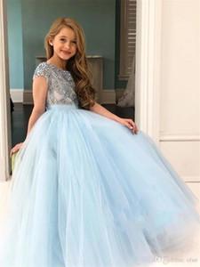 Brillante blu che bordano dalle ragazze di fiore abiti Crystal Sky Backless del manicotto della protezione di Tulle ragazze Pageant Abiti vestidos de desfile de Niñas