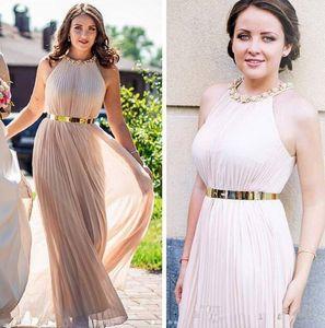 Нового Удивительного высокого качество вечерних платьев Ruched шифона Холтер шеи с элегантными вечерними платьями золота Sash ogstuff дешевого платья невесты